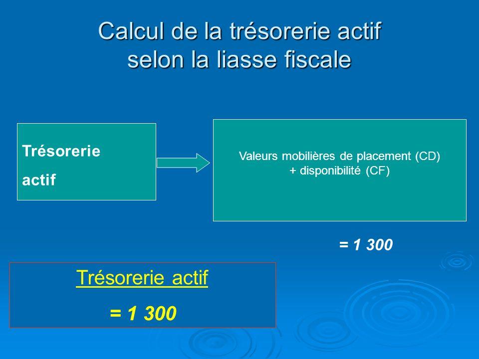 Calcul de la trésorerie actif selon la liasse fiscale