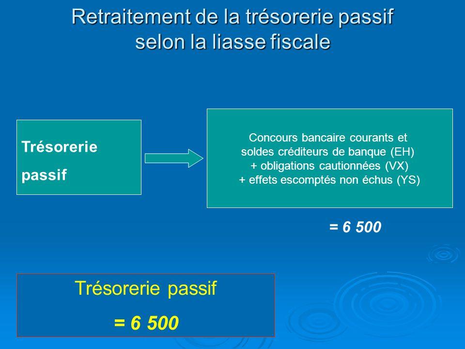 Retraitement de la trésorerie passif selon la liasse fiscale