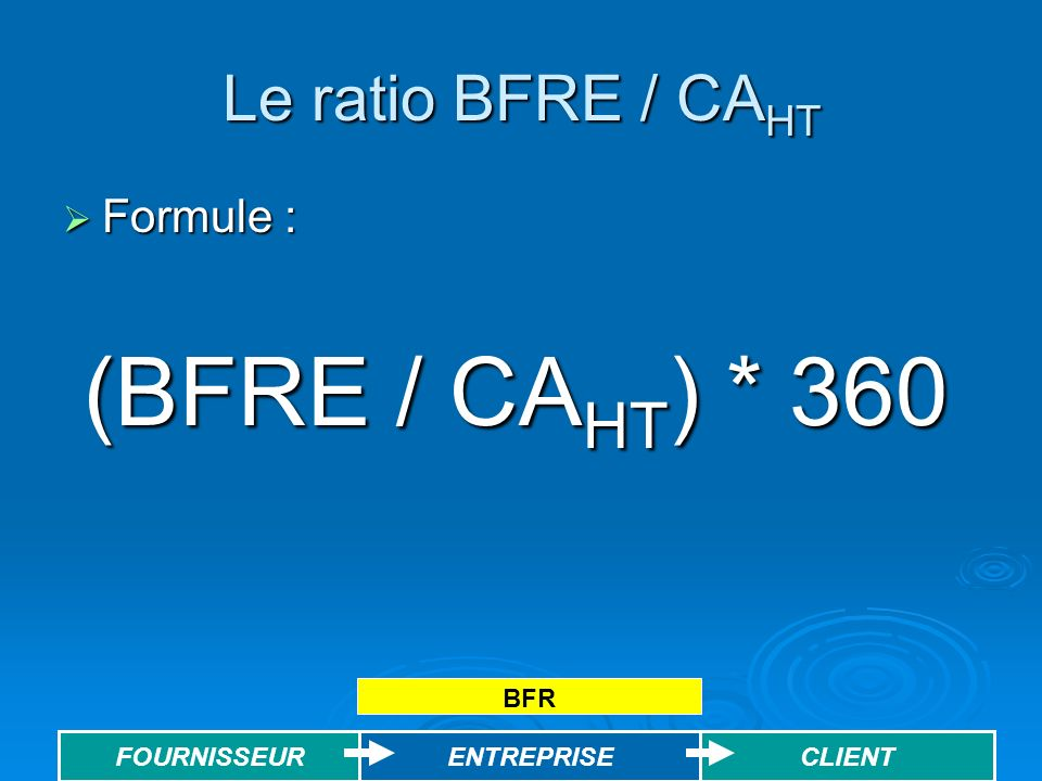 (BFRE / CAHT) * 360 Le ratio BFRE / CAHT Formule : BFR ENTREPRISE
