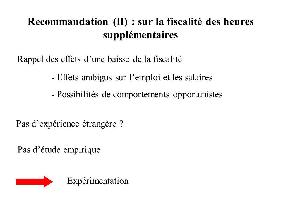 Recommandation (II) : sur la fiscalité des heures supplémentaires