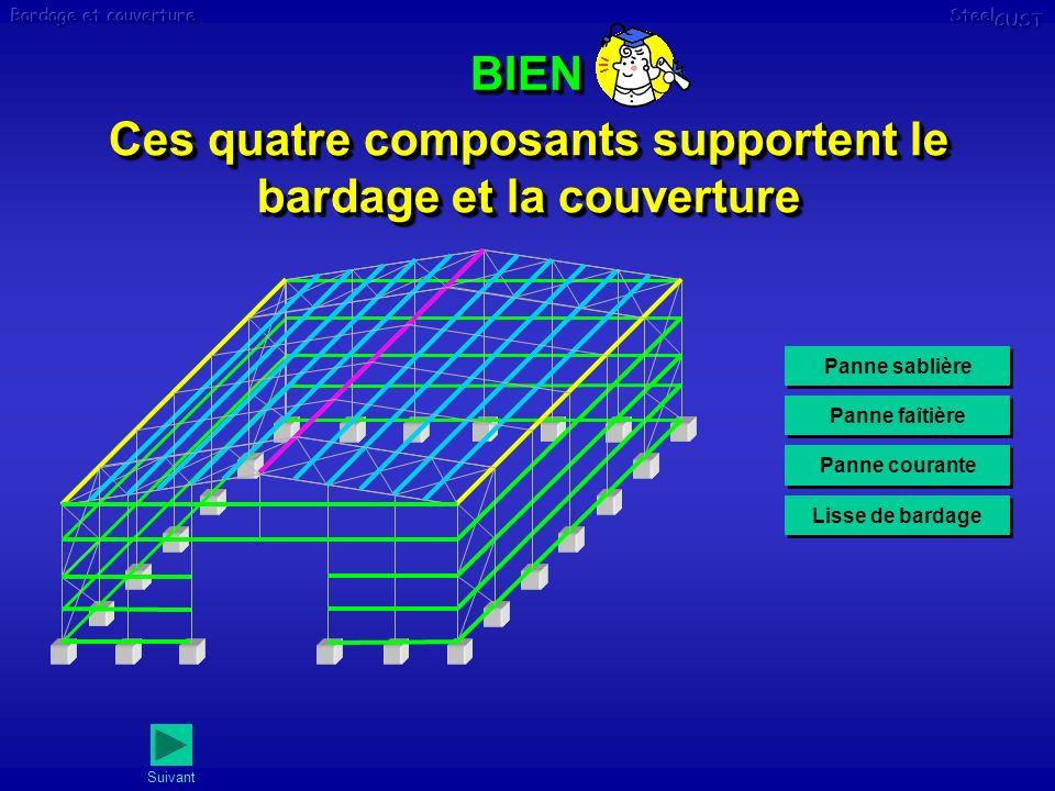 Ces quatre composants supportent le bardage et la couverture