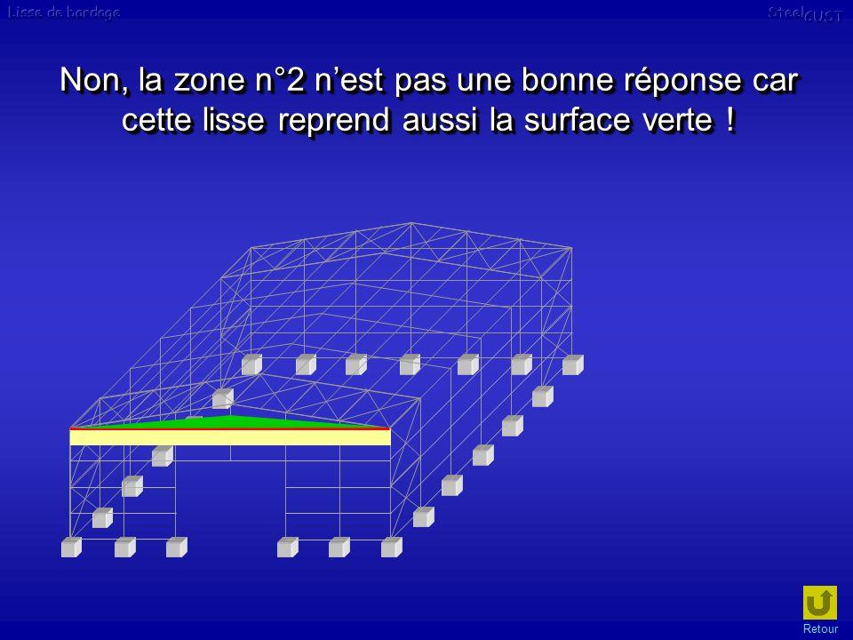 Non, la zone n°2 n'est pas une bonne réponse car cette lisse reprend aussi la surface verte !