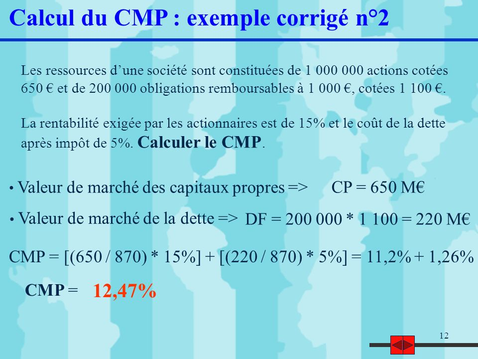 Calcul du CMP : exemple corrigé n°2