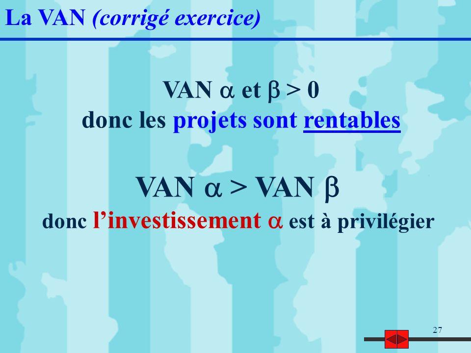VAN a > VAN b VAN a et b > 0 donc les projets sont rentables