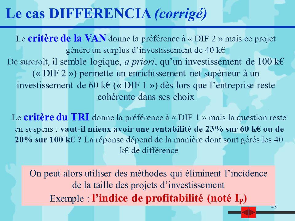 Exemple : l'indice de profitabilité (noté IP)