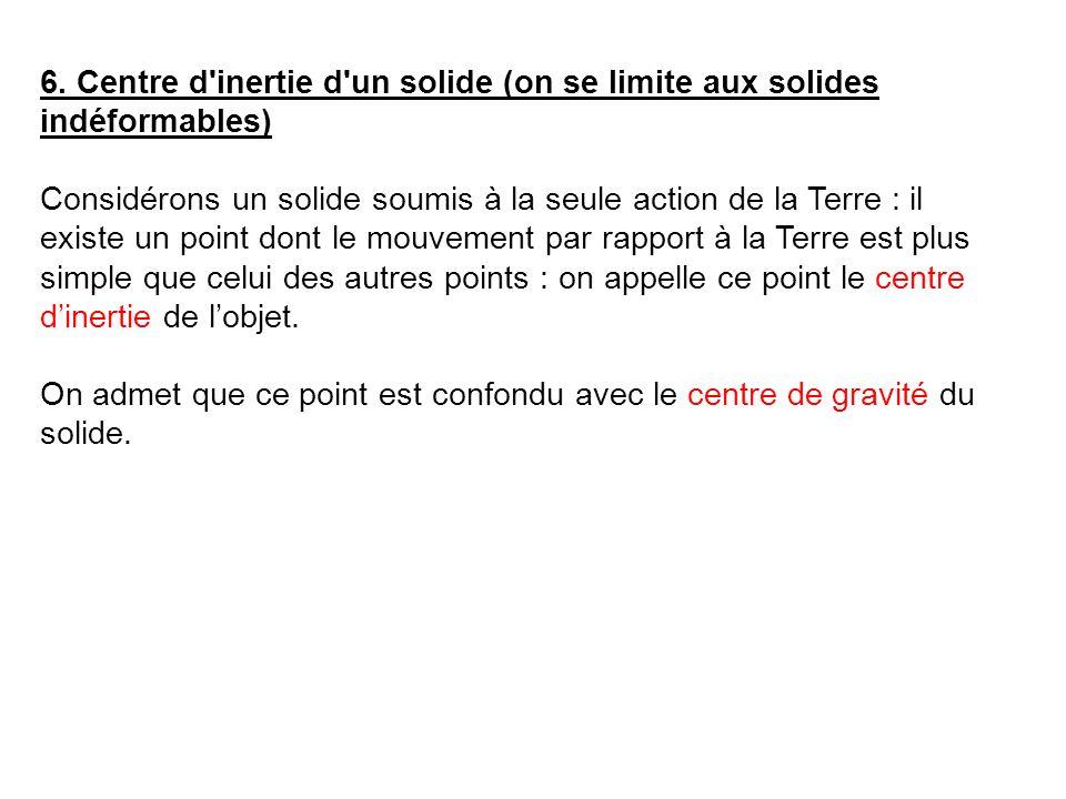 6. Centre d inertie d un solide (on se limite aux solides indéformables)