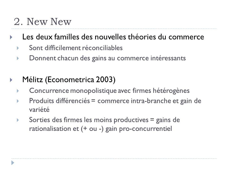 2. New New Les deux familles des nouvelles théories du commerce