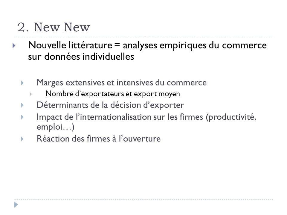 2. New New Nouvelle littérature = analyses empiriques du commerce sur données individuelles. Marges extensives et intensives du commerce.