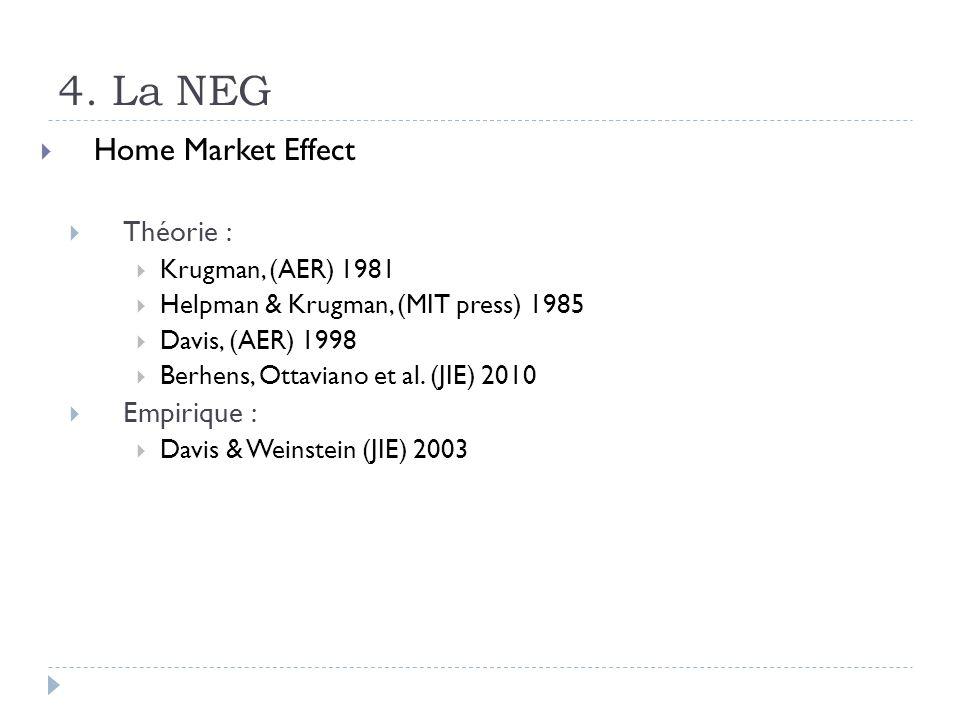 4. La NEG Home Market Effect Théorie : Empirique : Krugman, (AER) 1981