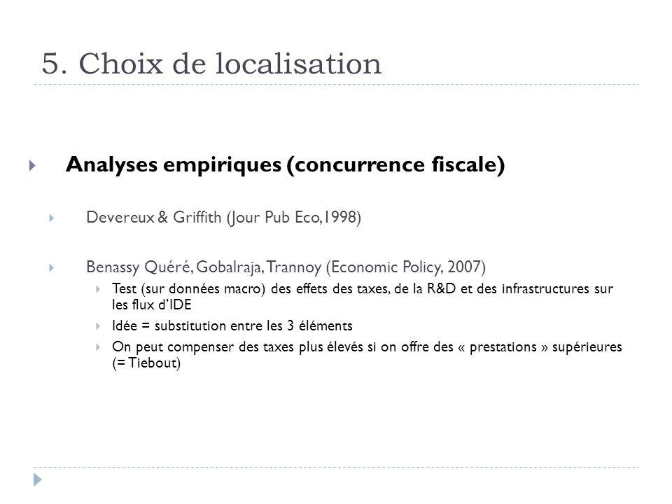 5. Choix de localisation Analyses empiriques (concurrence fiscale)