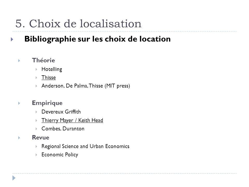 5. Choix de localisation Bibliographie sur les choix de location