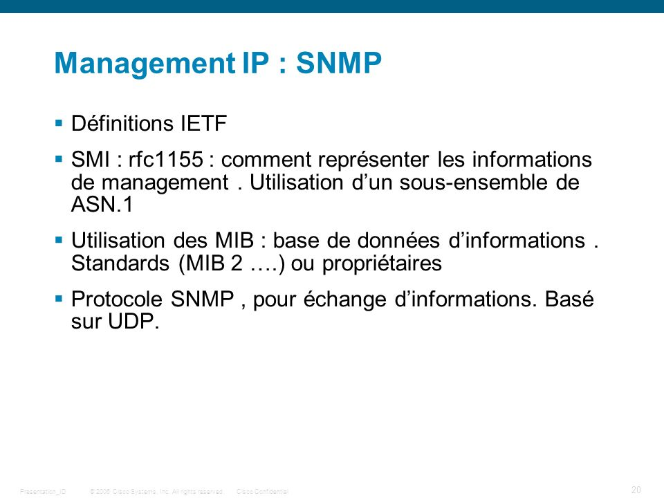 Management IP : SNMP Définitions IETF
