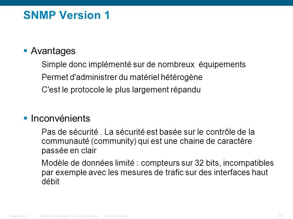 SNMP Version 1 Avantages Inconvénients