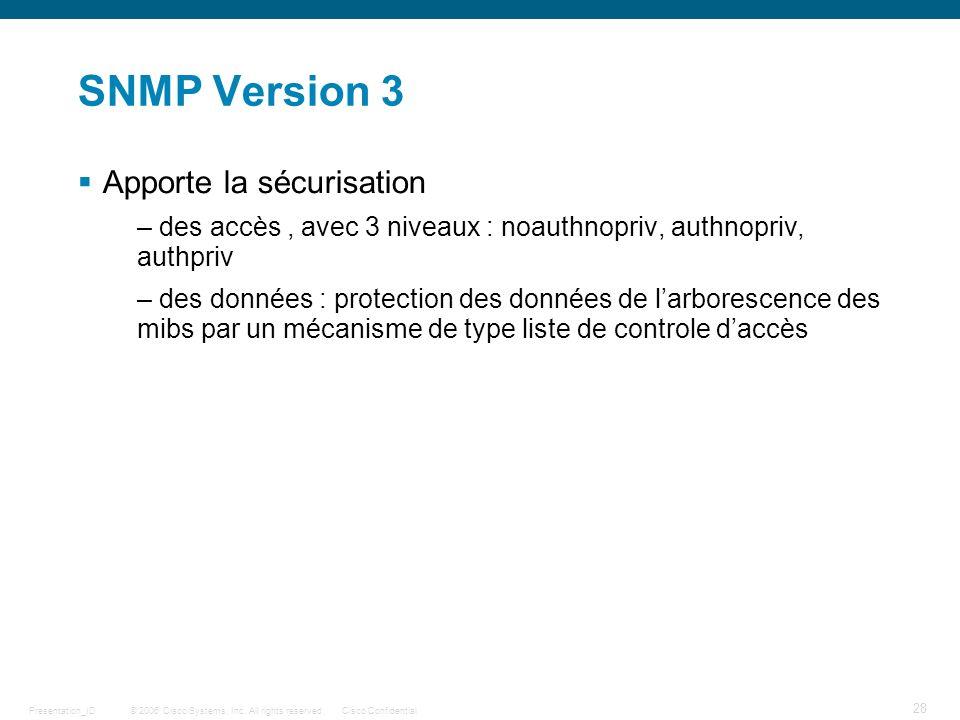 SNMP Version 3 Apporte la sécurisation