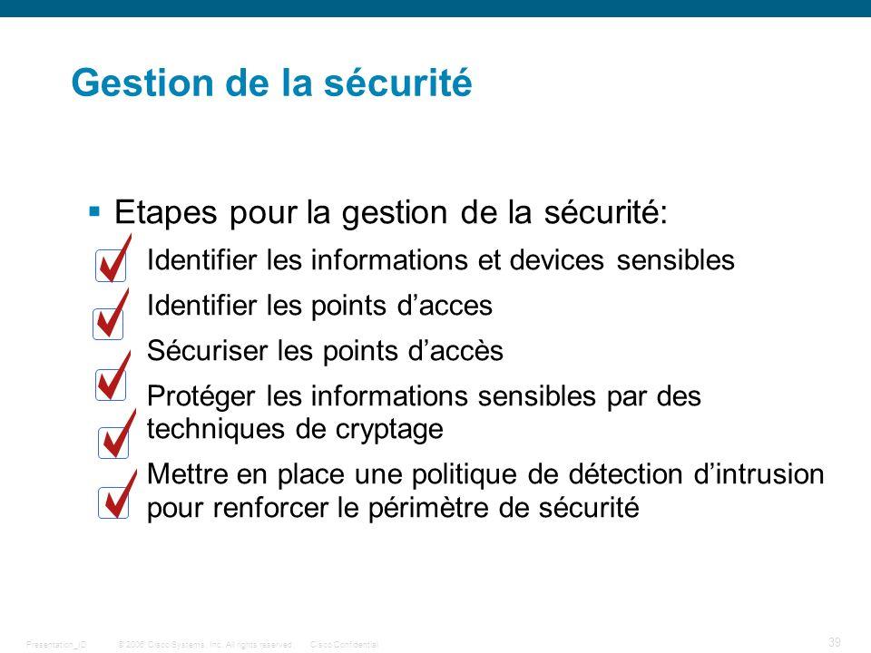 Gestion de la sécurité Etapes pour la gestion de la sécurité: