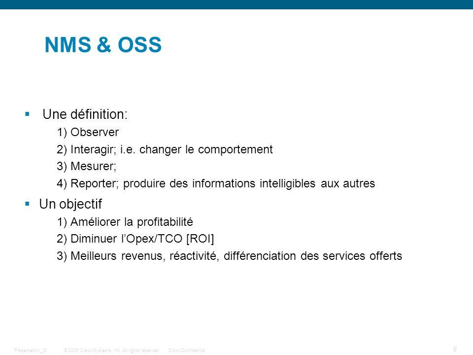 NMS & OSS Une définition: Un objectif 1) Observer