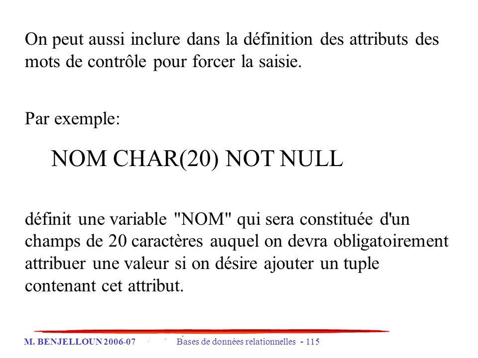 On peut aussi inclure dans la définition des attributs des mots de contrôle pour forcer la saisie.