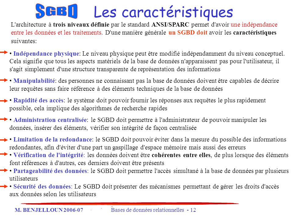 SGBD Les caractéristiques