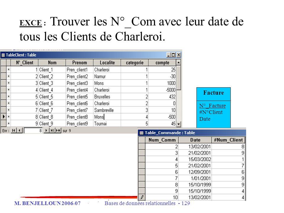 EXCE : Trouver les N°_Com avec leur date de tous les Clients de Charleroi.