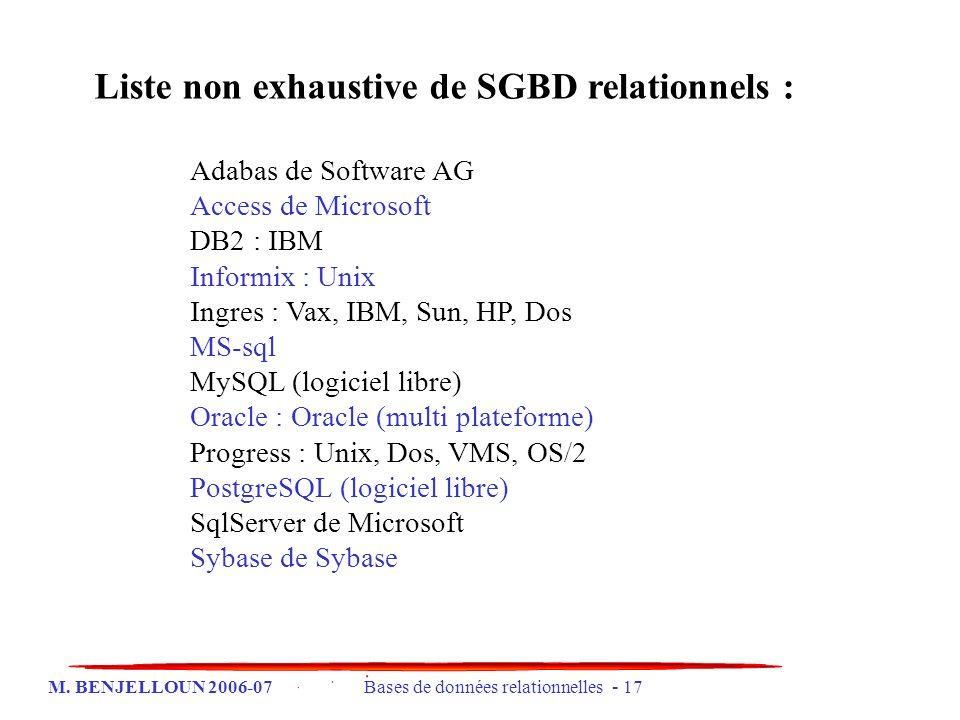 Liste non exhaustive de SGBD relationnels :