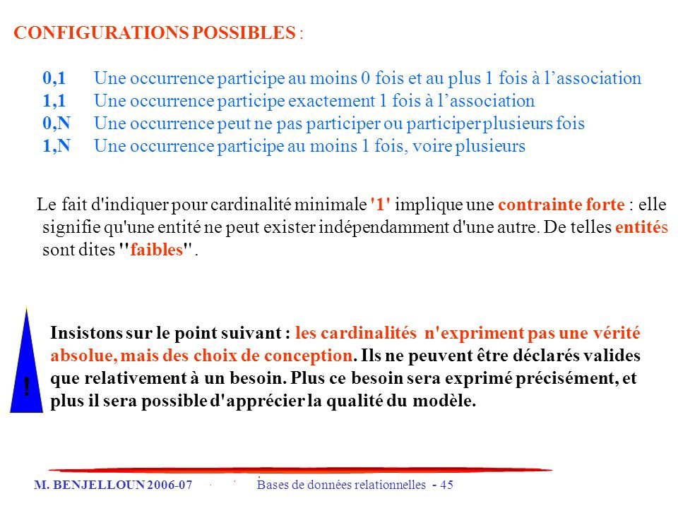 ! CONFIGURATIONS POSSIBLES :