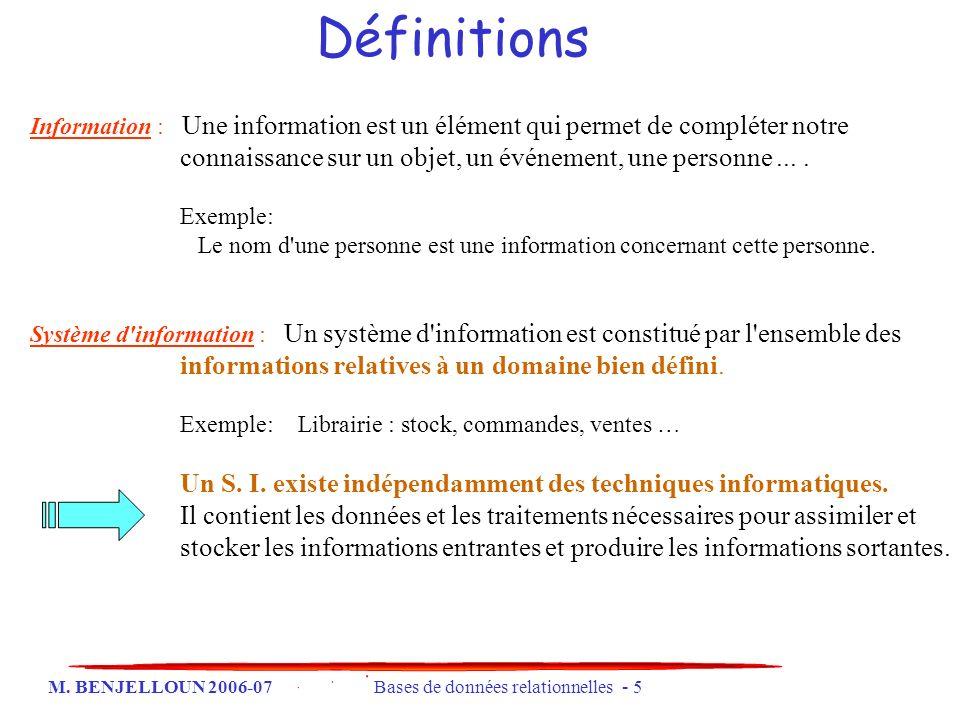 Définitions Information : Une information est un élément qui permet de compléter notre connaissance sur un objet, un événement, une personne ... .
