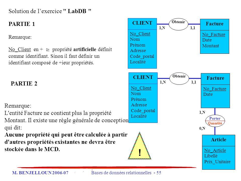 ! Solution de l'exercice LabDB PARTIE 1 PARTIE 2 Remarque: