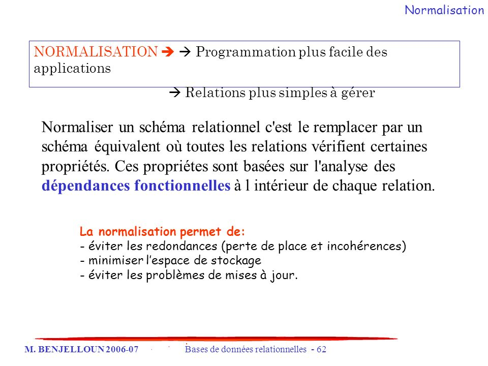 Normalisation NORMALISATION   Programmation plus facile des applications.  Relations plus simples à gérer.