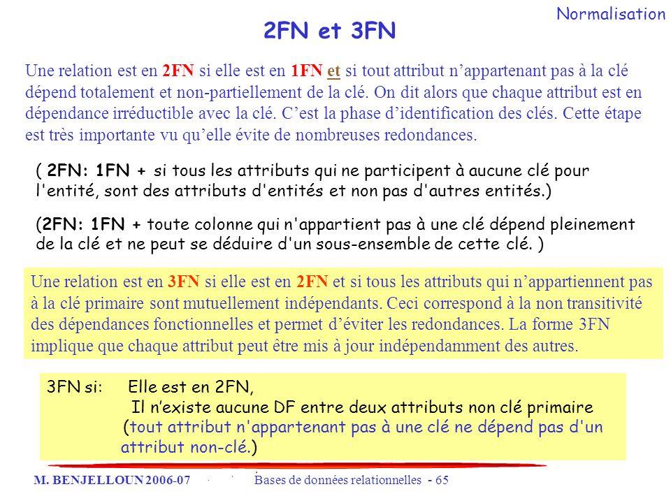 Normalisation 2FN et 3FN.