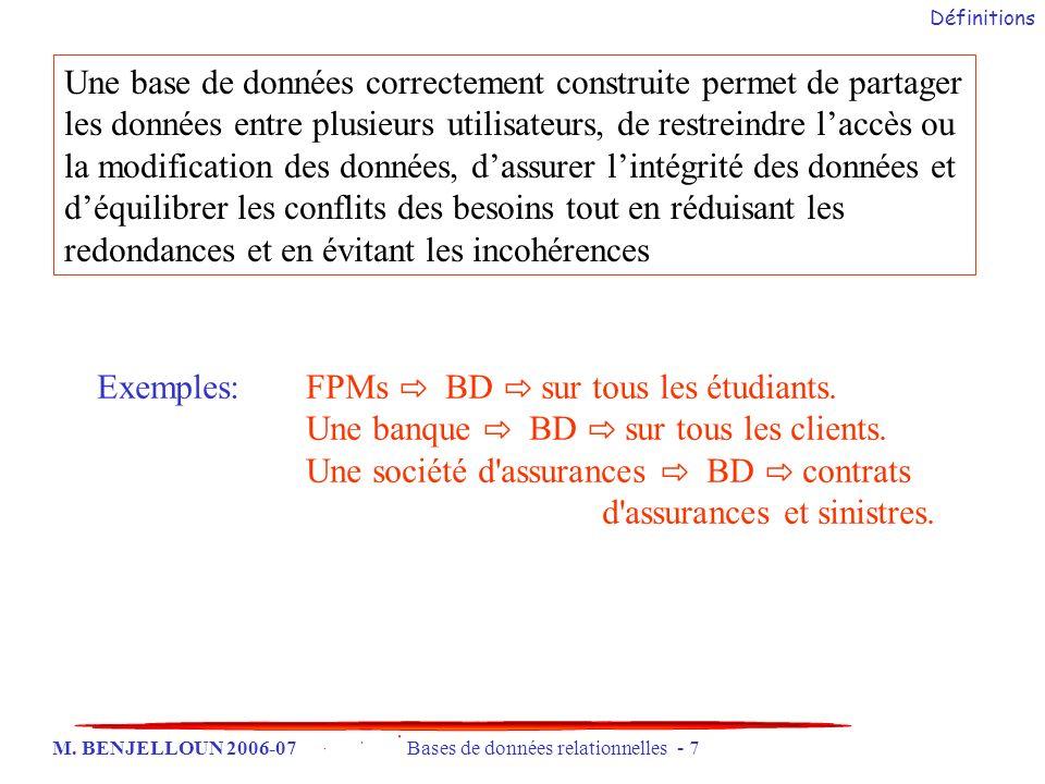 Exemples: FPMs ⇨ BD ⇨ sur tous les étudiants.