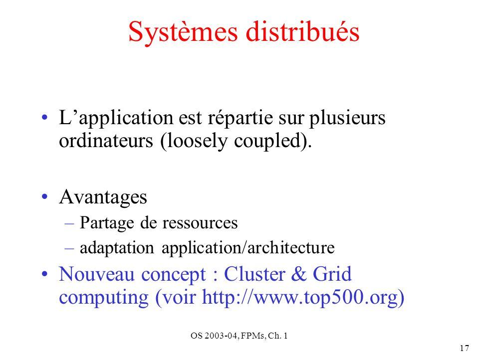 Systèmes distribués L'application est répartie sur plusieurs ordinateurs (loosely coupled). Avantages.