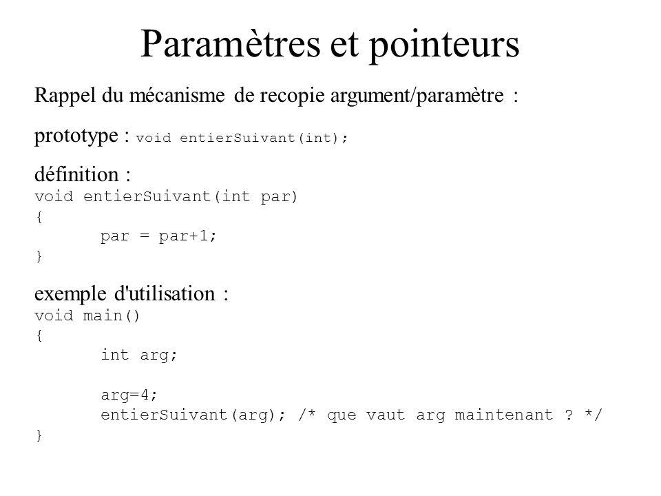 Paramètres et pointeurs