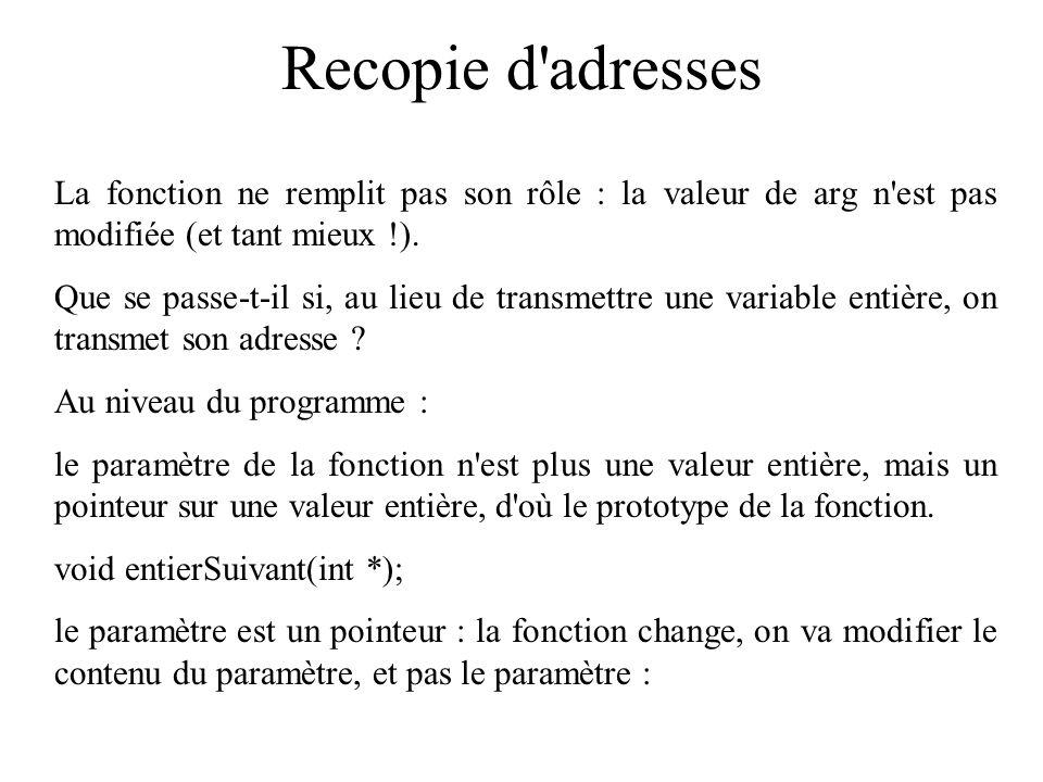 Recopie d adresses La fonction ne remplit pas son rôle : la valeur de arg n est pas modifiée (et tant mieux !).