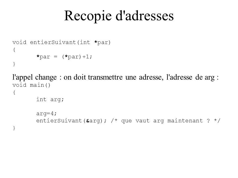 Recopie d adresses void entierSuivant(int *par) { *par = (*par)+1; } l appel change : on doit transmettre une adresse, l adresse de arg :