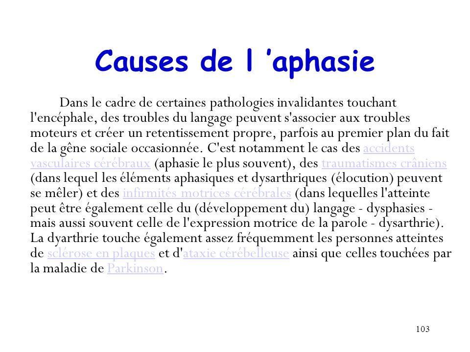 Causes de l 'aphasie