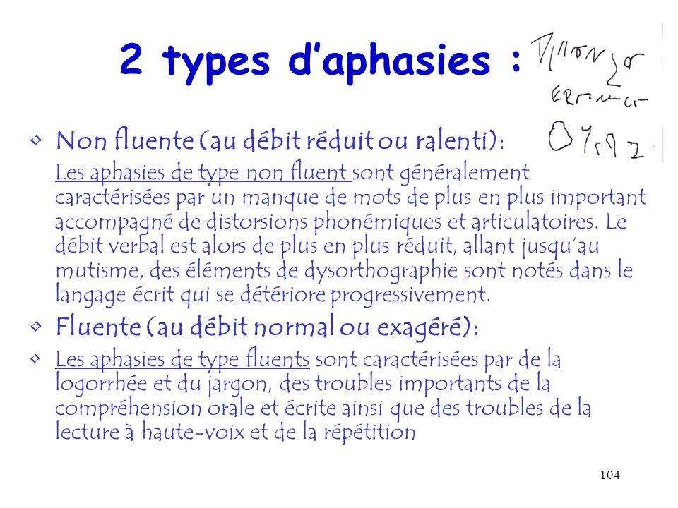 2 types d'aphasies : Non fluente (au débit réduit ou ralenti):