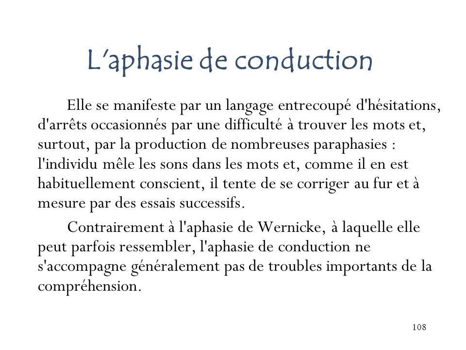 L aphasie de conduction