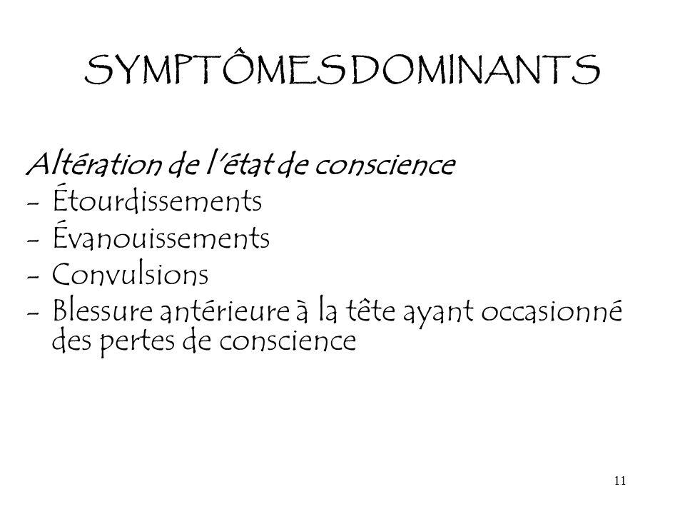 SYMPTÔMES DOMINANTS Altération de l état de conscience. Étourdissements. Évanouissements. Convulsions.