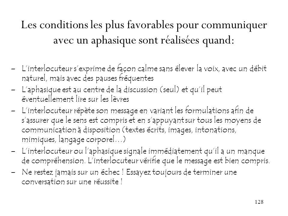 Les conditions les plus favorables pour communiquer avec un aphasique sont réalisées quand:
