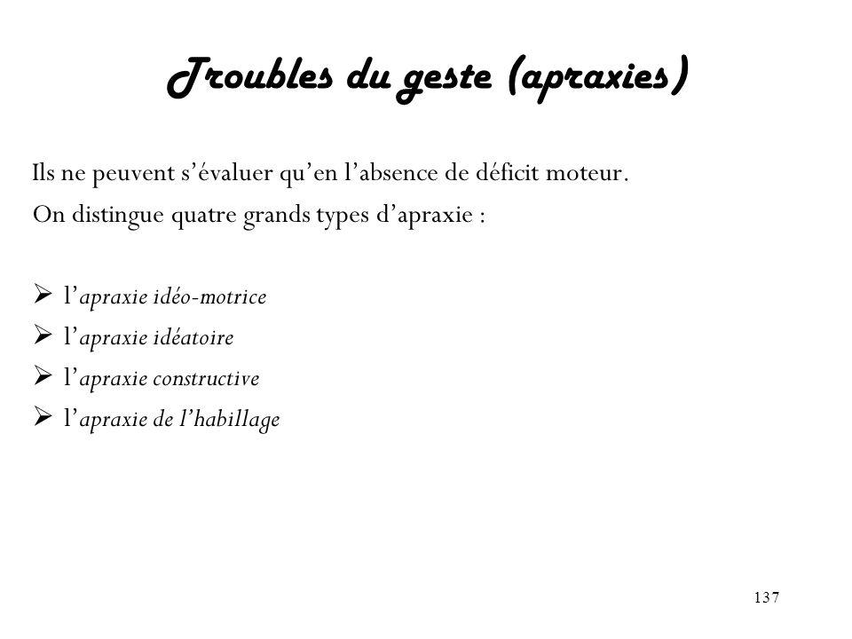 Troubles du geste (apraxies)