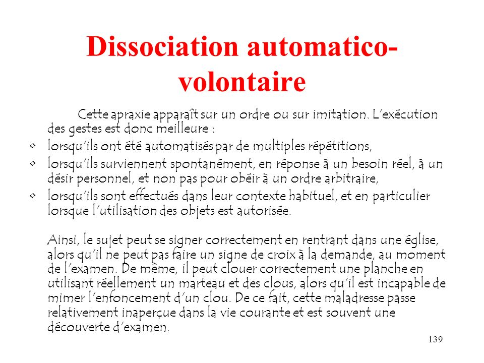 Dissociation automatico-volontaire