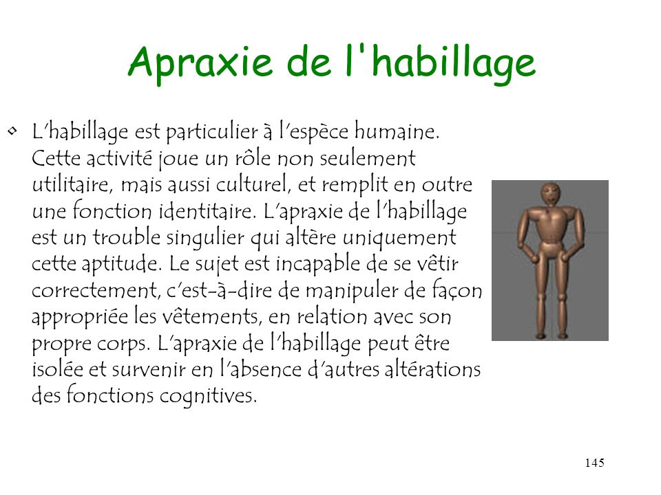Apraxie de l habillage