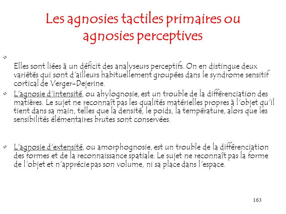 Les agnosies tactiles primaires ou agnosies perceptives