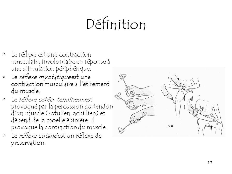 Définition Le réflexe est une contraction musculaire involontaire en réponse à une stimulation périphérique.