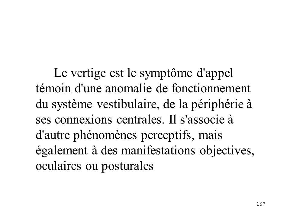 Le vertige est le symptôme d appel témoin d une anomalie de fonctionnement du système vestibulaire, de la périphérie à ses connexions centrales.