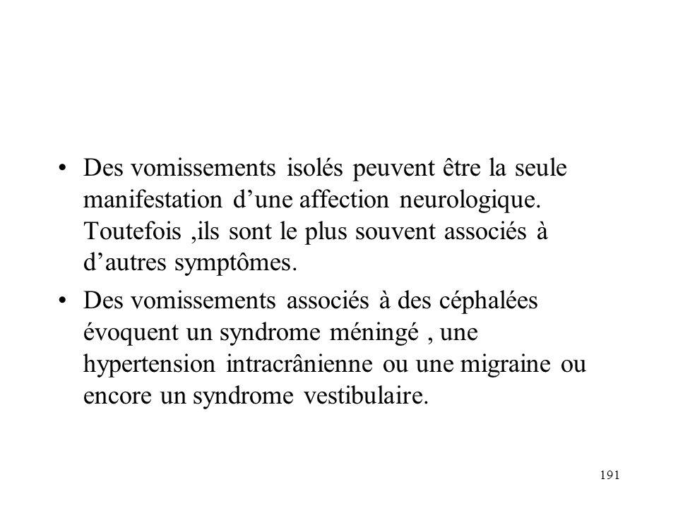 Des vomissements isolés peuvent être la seule manifestation d'une affection neurologique. Toutefois ,ils sont le plus souvent associés à d'autres symptômes.
