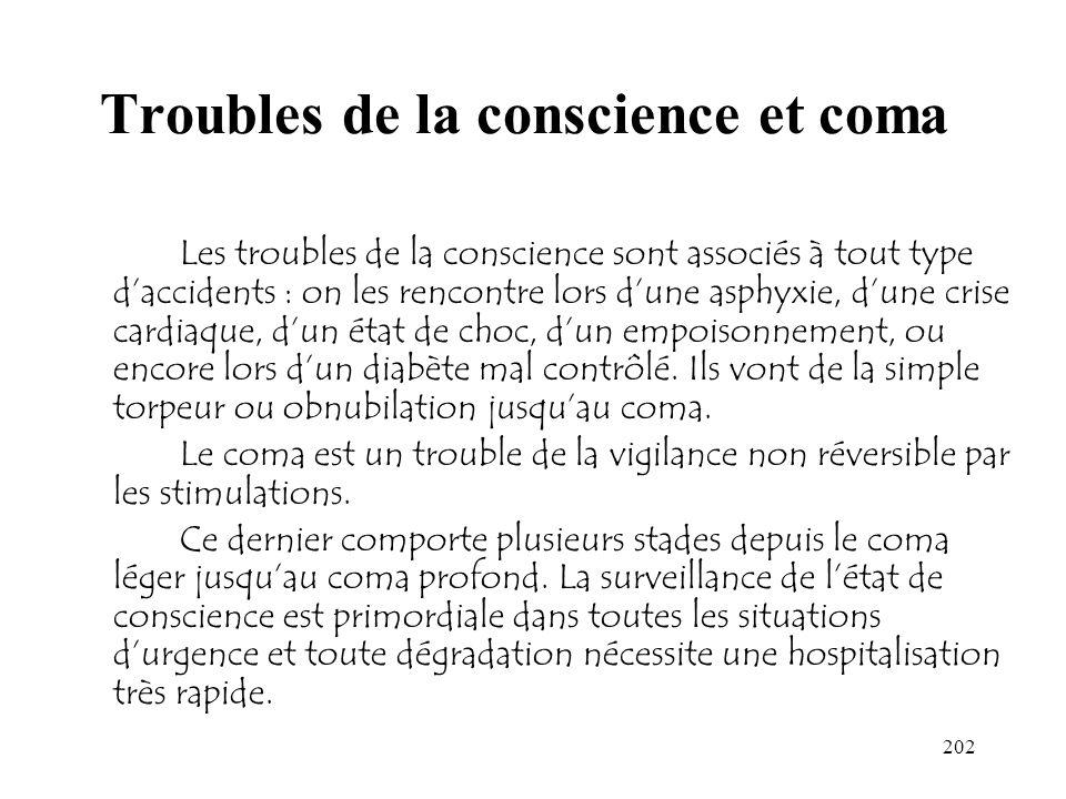 Troubles de la conscience et coma