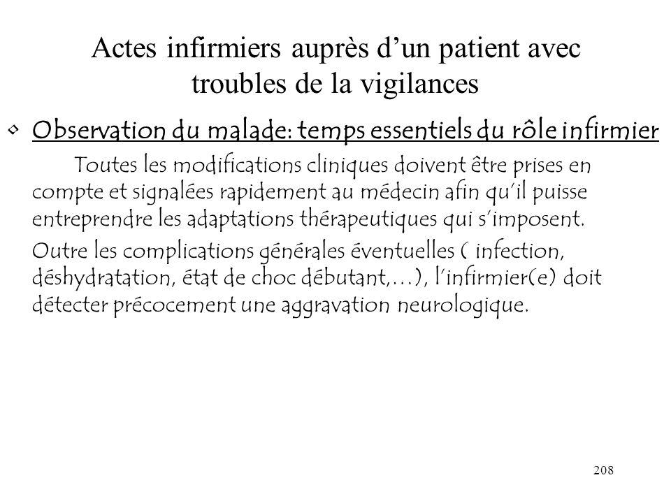 Actes infirmiers auprès d'un patient avec troubles de la vigilances