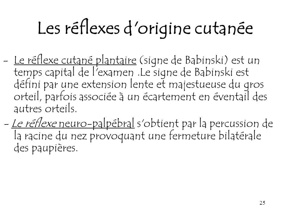 Les réflexes d origine cutanée