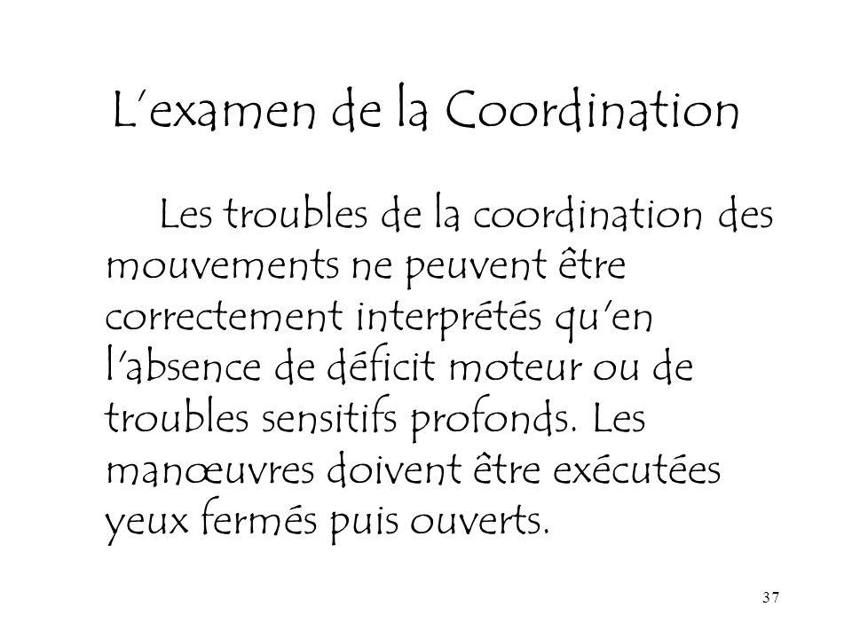 L'examen de la Coordination